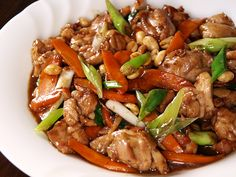 Kung Pao Chicken...my favorite chinese dish! Instead of cayene pepper I use little dried chili peppers...very HOT! so be careful.