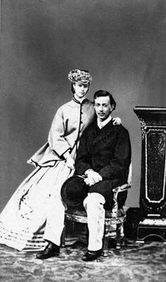 Photo of Princess Dagmar of Denmark (the future Empress Marie Feodorovna) with her first fiancé Tsarevich Nikolai Alexandrovich of Russia, 1864. He did not live much longer after this photo was taken. Dagmar went on to marry his younger brother who became Tsar Alexander lll. Dagmar was not immediately in love with Alexander but Nikolai had asked her to marry his brother before his death. Eventually she became wholeheartedly in love with Alexander.