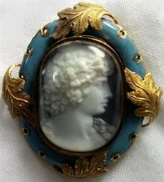 ⊙ Cameo Cupidity ⊙  blue and gold framed hardstone Victorian cameo