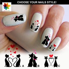 Cat in love, kitten, cat, 60 nail transfer, Waterslide stickers Decal Nail, crystal clear background