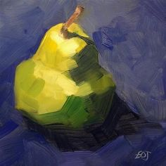 """Single Pear"" original fine art by Elizabeth Dawn Johnston Still Life Art, Still Life Oil Painting, Vegetable Painting, Fruit Painting, Fine Art Auctions, Traditional Paintings, Fruit Art, Small Paintings, Arte Floral"