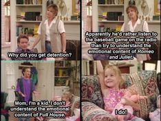 Observation 1: Cognitive Development.  In this episode, Cory says that he doesn't understand the emotion content of Full House, but Morgan exclaims that she does.  From a Cognitive development perspective, she may not be understanding it as much as she thinks.  Most preschool age children are not able to fully understand the plots, or even recall some of the details of the show.  For Morgan, it may have been a way to seem smarter than Cory.