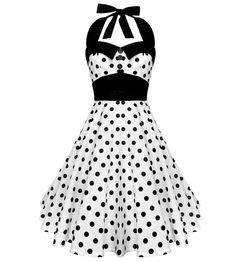 This rockabilly inspired halter dress is both classy and summery fun. This solid white fabric is freckles with classic black polka dots throughout the full skirt. Accented with vintage inspired buttons around the bust and thick black waistband, this rockabilly dress is figure flattering for all sizes.