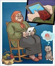 Haha thats gonna be us in like 65 years Knitting Humor, Knitting Charts, Knitting Patterns, Cartoon Jokes, Cartoons, Funny Art, Funny Memes, Beginner Knit Scarf, Knit Art
