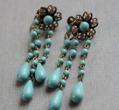 Edwardian Turquoise Waterfall Earrings. $58.00, via Etsy.
