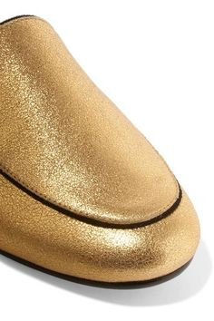 NewbarK - Liza Metallic Brushed-leather Slippers - Gold - US