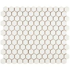 Somertile Victorian Hex Matte White Porcelain Mosaic Tiles (Pack of 10)