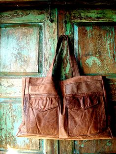 Handmade Brown Leather Bag created from Vintage Leather Bomber Jacket
