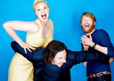 Gwendoline Christie, Adam Driver & Domhnall Gleeson<<They are having WAY too much fun <3
