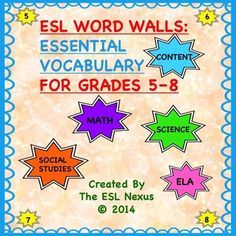 Help your ELLs, and other students, in Grades 5 – 8 learn vocabulary that is crucial to understanding Math, Science, Social Studies, and ELA concepts by displaying these word walls, organized by grade and by subject, in your classroom. $