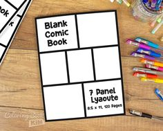 An blank comic to create great stories for children and adults.  One repetitive layout of 7 panels. 120 pages of the same template. One of the most popular and liked templates, perfect for all types of comics. The symmetrical arrangement of the panels makes it great for children, beginners and advanced illustrators.