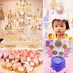 """Created by Linsey Latimer's Lux Events & Design for the first birthday party of photographer Kristine Atienza's daughter Eva, the It's a Small World-inspired party is full of pink, purple, and gold details. """"Kristine choose It's a Small World as the theme because it was the birthday girl's first-ever ride at Disneyland and because the family loves to travel,"""" Linsey says. """"I took all my inspiration for this party from the Small World castle. I just love how all of the elements played off of…"""