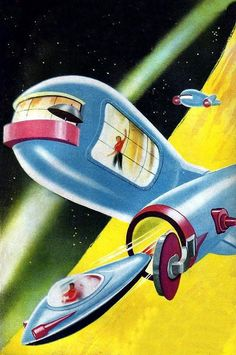 The Home In Orbit - Cover Illustration from the Spanish Sci-Fi pulp book series 'Futuro' No. 17 published in 1954. Artist unknown.