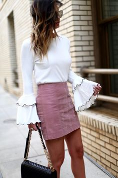 SUEDE MINI + BELL SLEEVES via For All Things Lovely | Top: Endless Rose {$60} | Skirt: Free People {only $60} | Handbag: Chanel | Shoes: Christian Louboutin | Sunglasses: Quay {$65} | Lips: MAC Liner 'Stripdown' + MAC Lipstick 'Blankety'