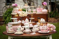 Large vintage china package/ teapots/English china trios/milk jugs and creamers/cake forks and spoons/cut glass vases/ sandwich plates/white cake stands all available for hire at mysweeteventhire .com.au