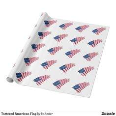 Tattered American Flag Wrapping Paper  25% OFF ALL ORDERS     Memorial Day Savings  #leatherwooddesign #zazzle #FULLguarantee #moneyback