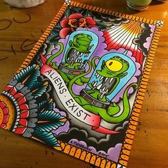 "/the Simpsons ""Aliens Exist"" print by Ash Thorburn Tattoo Trippy Drawings, Psychedelic Drawings, Cool Art Drawings, Cute Canvas Paintings, Small Canvas Art, Mini Canvas Art, Hippie Painting, Trippy Painting, Hippie Drawing"