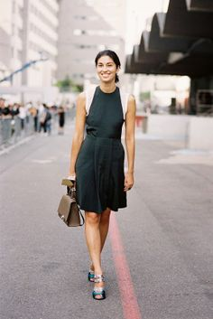 Tank magazine's Caroline Issa. Cool dress! Wonder if this look can be achieved by wearing a tank underneath a halter dress.
