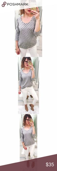 ➡Anthropologie Dolan Polka Dot Sweatshirt⬅ A perfect mix of sweatshirt and cute top, with banded hems and slight ruching at the shoulders. Super cozy and cute. Anthropologie Tops