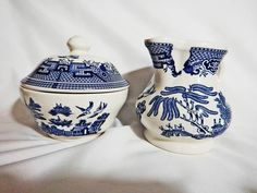 In my #etsy shop: Churchill Blue Flow Creamer & Sugar Bowl with Cover in Willow Blue Pattern http://etsy.me/2mUSN5M #housewares #serving #blue #white #churchillwillow #willowbluewhite#faithfullyvintagemn #Etsyshop  #Etsyvintage  #faithfullyvintagemn #Etsyshop