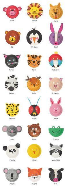 Witzige Tiermasken aus Papptellern basteln - PDF zum Download *** DIY Animal Masks out from Paper Plates