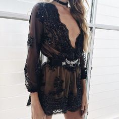 Deep V-neck Long Sleeves Sequin Belt Falbala Transparent Sexy Jumpsuit