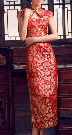 Traditional Chinese Wedding Gown Dinner Dress Cheongsam in Red and  Gold. $100.00, via Etsy.