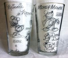 2 Sketchbook Disney Tumblers Glass 16 Oz. Mickey Minnie Mouse Donald Goofy Pluto