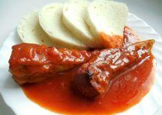 Fotografie článku: Recept na plněné papriky s rajskou omáčkou krok za krokem Mashed Potatoes, Sausage, Cooking Recipes, Pudding, Beef, Ethnic Recipes, Food, Recipe Ideas, Red Peppers