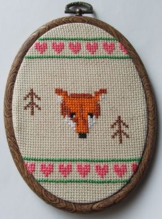 Woodland Fox Sampler with Hearts and Trees by MaMagasin on Etsy, £26.00