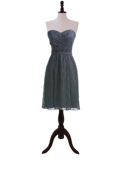 Satin Sweetheart Dress With Lace Covered For Bridesmaids