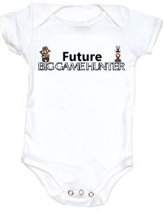 Future Big Game Hunter Personalized baby onesie - add a name at no additional cost! Cool, badass and Geeky onesies. Unique baby shower gift. Or Tee Shirts available too.