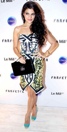 Jacqueline Fernandez seen in a Peter Pilotto dress at the launch of Farfetch superstore Le Mill in Mumbai. #Bollywood #Fashion #Style #Beauty