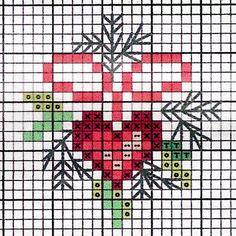 Kleine kerstborduurpatroontjes 2 - Blij met Draadjes Cross Stitch Christmas Cards, Xmas Cross Stitch, Cross Stitch Heart, Cross Stitch Cards, Christmas Cross, Cross Stitching, Cross Stitch Embroidery, Winter Christmas, Wedding Cross Stitch Patterns