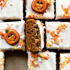 These are the best pumpkin bars I've ever had. They have incredible spiced pumpkin flavor and aren't quite as light and cakey as most others I've tried. Pumpkin Pie Bars, Pumpkin Cake Recipes, Fall Dessert Recipes, Fall Desserts, Fall Recipes, Pumpkin Bread, Dessert Ideas, Thanksgiving Recipes, Delicious Desserts