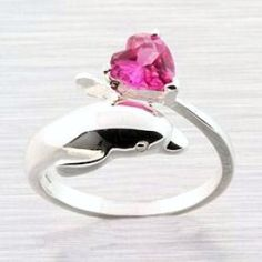 Sterling Silver Pink Sapphire Heart Dolphin Ring