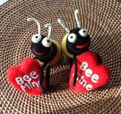 """Needle Felted Valentine BEE Mine.  """"I Felt That - Needle felting by Trish"""" on Facebook"""