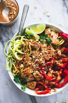 Thai Peanut Chicken And Zucchini Noodle Bowl Healthy And Incredibly Tasty!