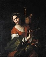 Bernardo Cavallino (Italian, 1616–1656), A Personification of Painting. Oil on Canvas, 123.5 x 99.5 cm. (48.6 x 39.2 in.)