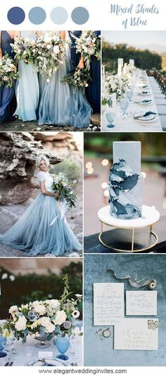 Romantic mixed shades of blue beach wedding inspiration for 2018 trends #weddingideas #weddinginspiration