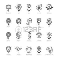 Stock Photo Ensemble d ic nes de fleurs Banque d'images Mom Tattoos, Small Tattoos, Doodle Drawings, Doodle Art, Logo Fleur, Flower Line Drawings, Simple Flower Drawing, Floral Doodle, Flower Doodles
