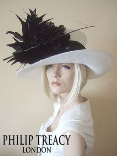 Philip Treacy Large Black White Hat Rose and Feathers for Ascot 2013