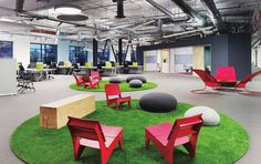 Office interior design - Artificial turf with chairs  #interiordesign