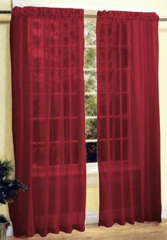"""2 Pc Sheer Voile Window Curtain Panel Set Burgundy by AHF. $7.01. 2 Panels Sheer Window Curtain (54""""W x 84""""L Each Panel). Sheer Voile Window Curtains Set This is a new style of sheer voile curtain set, comes with 2 panels curtain. It's very pretty and stylish.  This product is a must try!          Condition: Brand New     Design: Sheer Voile Plain Color     Main Color: Burgundy     Material: Polyester     Care Instruction: Machine Wash Cold with Gentle Cycle"""