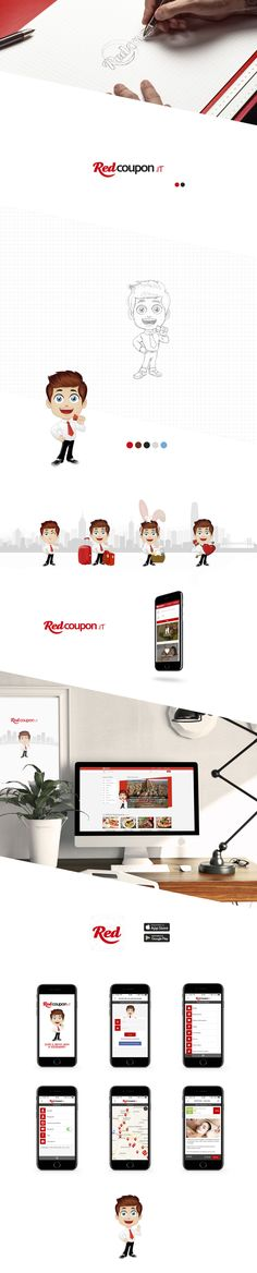 Redcoupon ui/ux Design, mascotte, branding, mobile app for Android e iOS by #Overbi