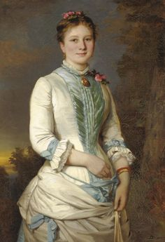 Portrait of a Lady with Pink Rose  Clemens Brewer  1883