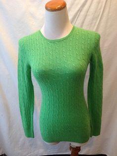 J. CREW green 100% CASHMERE cableknit crewneck sweater Small S #JCrew #Crewneck #cashmere