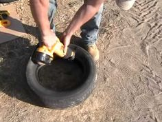How to cut a tire in half.