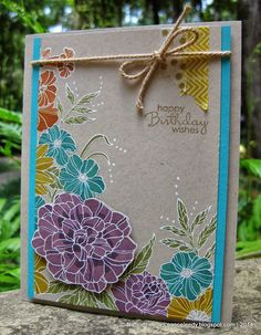 Canopy Crafts: Corner Garden stamp set heat embossed with white on crumb cake. Pop up large flower. Card Making Inspiration, Making Ideas, Washi, Corner Garden, Stampin Up Catalog, Flower Patch, Tampons, Copics, Up Girl