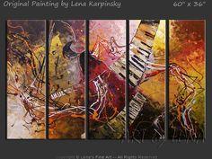 """Amazing Jazz"" - Original Music Art by Lena Karpinsky, http://www.artbylena.com/original-painting/20841/amazing-jazz.html"